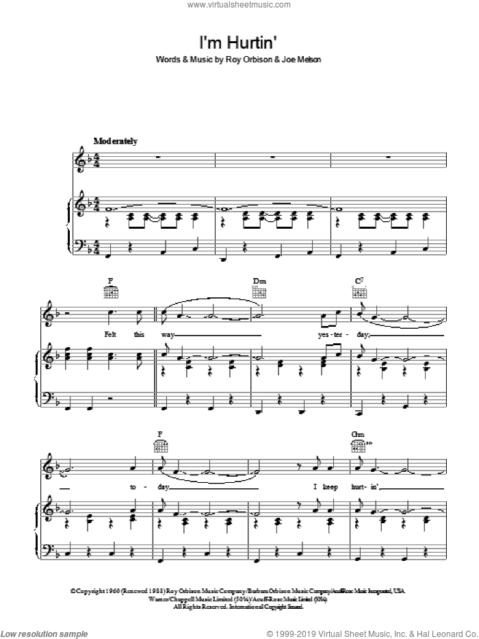 I'm Hurtin' sheet music for voice, piano or guitar by Roy Orbison and Joe Melson, intermediate skill level