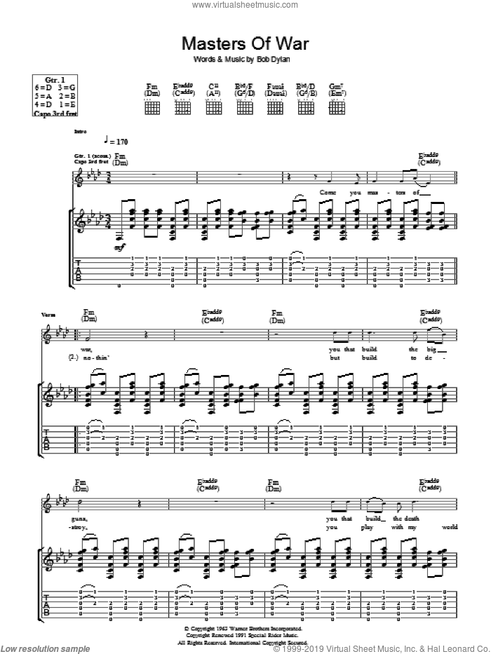 Masters Of War sheet music for guitar (tablature) by Bob Dylan, intermediate
