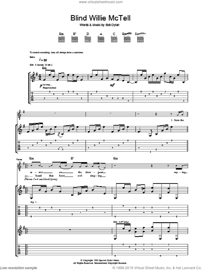 Blind Willie McTell sheet music for guitar (tablature) by Bob Dylan. Score Image Preview.
