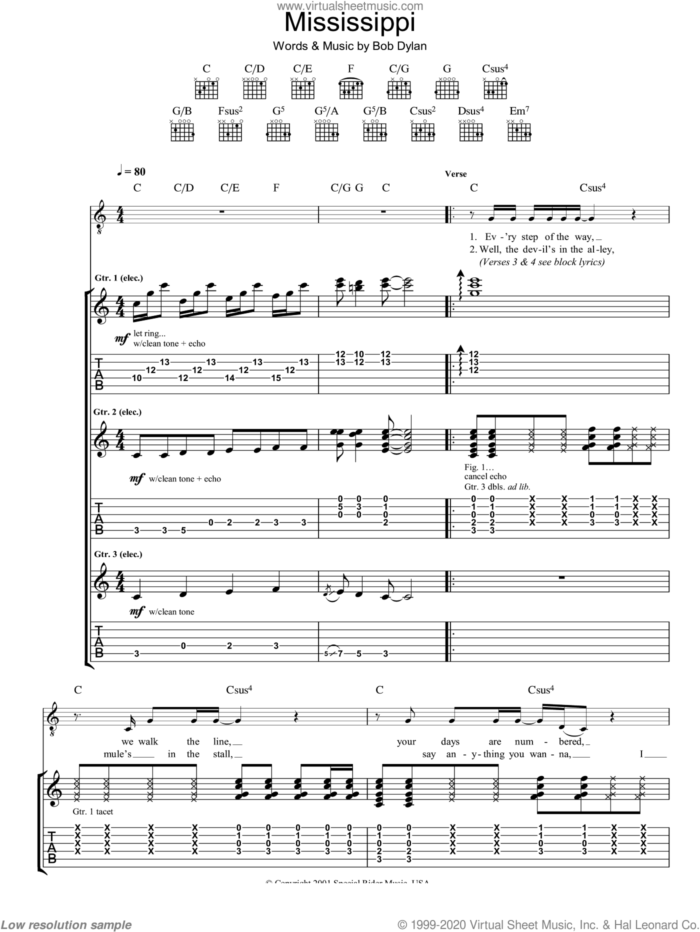 Mississippi sheet music for guitar (tablature) by Bob Dylan, intermediate skill level