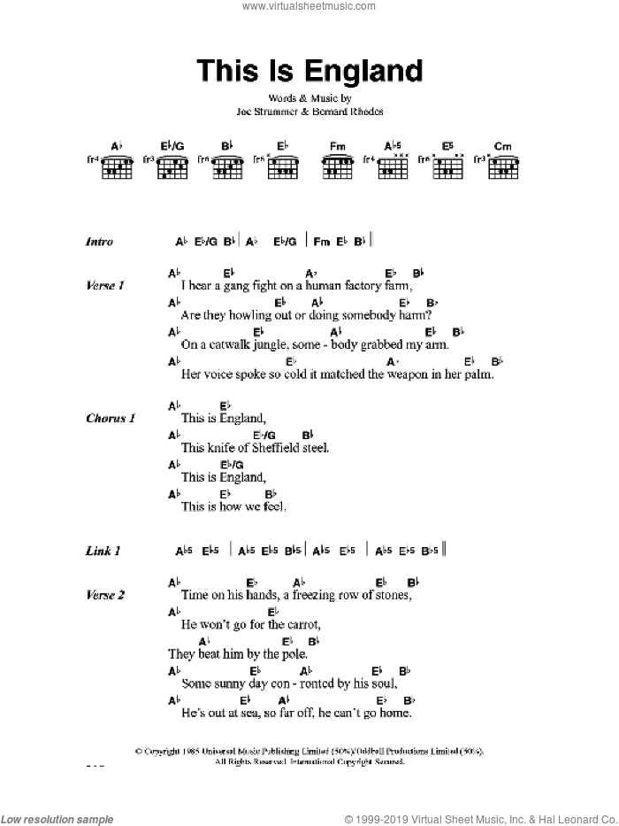 This Is England sheet music for guitar (chords) by Bernard Rhodes, The Clash and Joe Strummer. Score Image Preview.