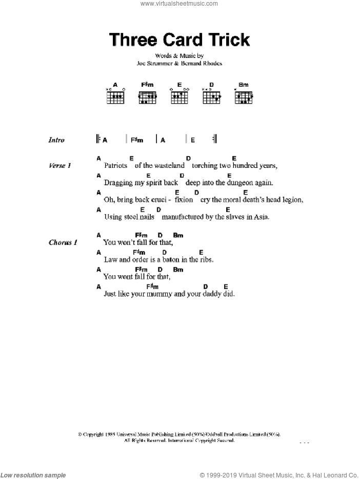 Three Card Trick sheet music for guitar (chords) by Bernard Rhodes, The Clash and Joe Strummer. Score Image Preview.
