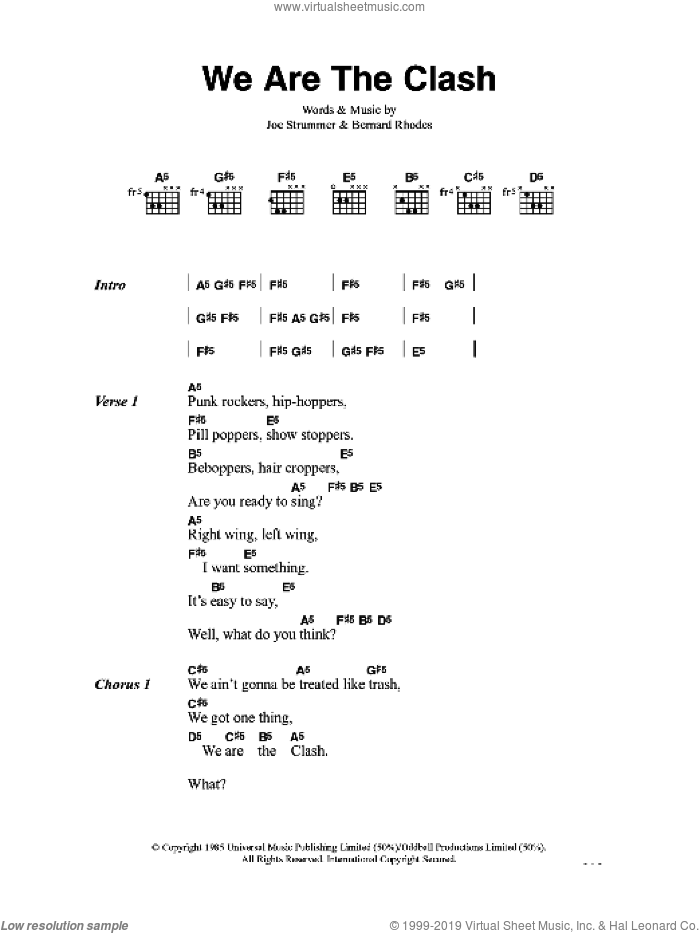 We Are The Clash sheet music for guitar (chords) by The Clash. Score Image Preview.