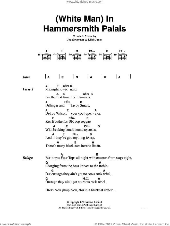 White Man In Hammersmith Palais sheet music for guitar (chords) by Joe Strummer, The Clash and Mick Jones. Score Image Preview.