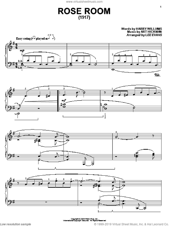Rose Room sheet music for piano solo by Benny Goodman, Art Hickman and Harry Williams, intermediate skill level