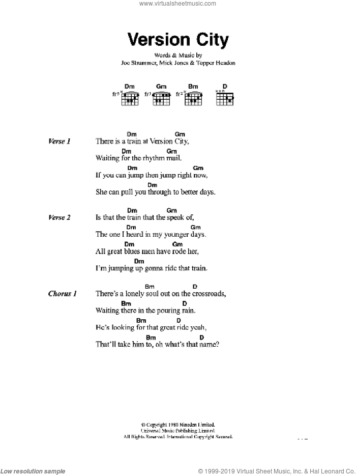 Version City sheet music for guitar (chords) by The Clash and Mick Jones. Score Image Preview.