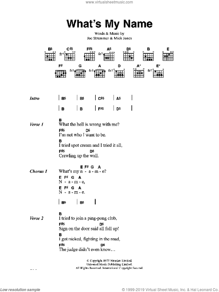 What's My Name sheet music for guitar (chords) by The Clash and Mick Jones, intermediate guitar (chords). Score Image Preview.