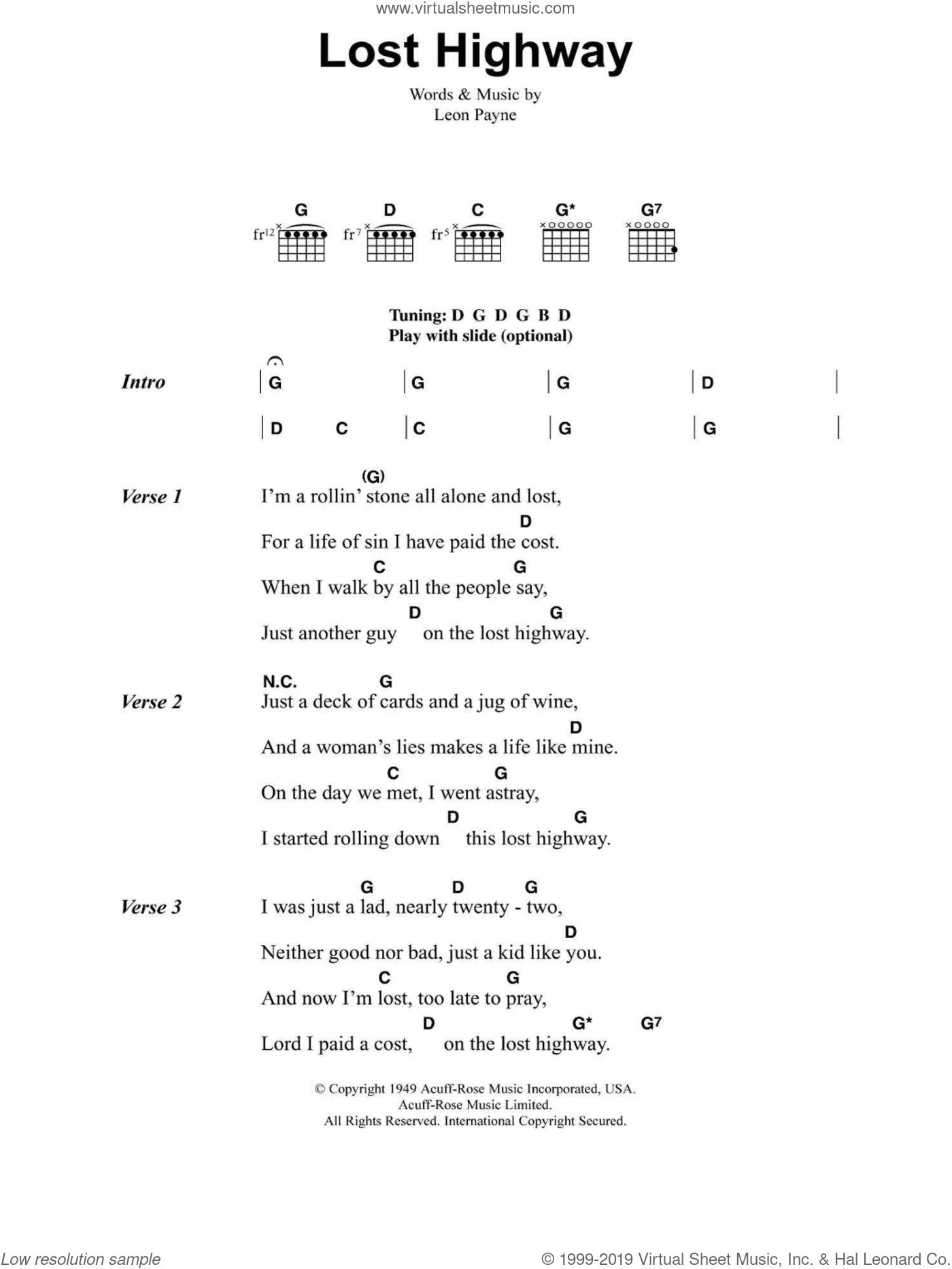Lost Highway sheet music for guitar (chords) by Hank Williams and Leon Payne, intermediate skill level