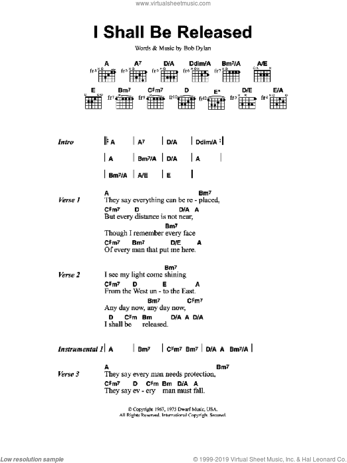 I Shall Be Released sheet music for guitar (chords) by Bob Dylan and Jeff Buckley. Score Image Preview.