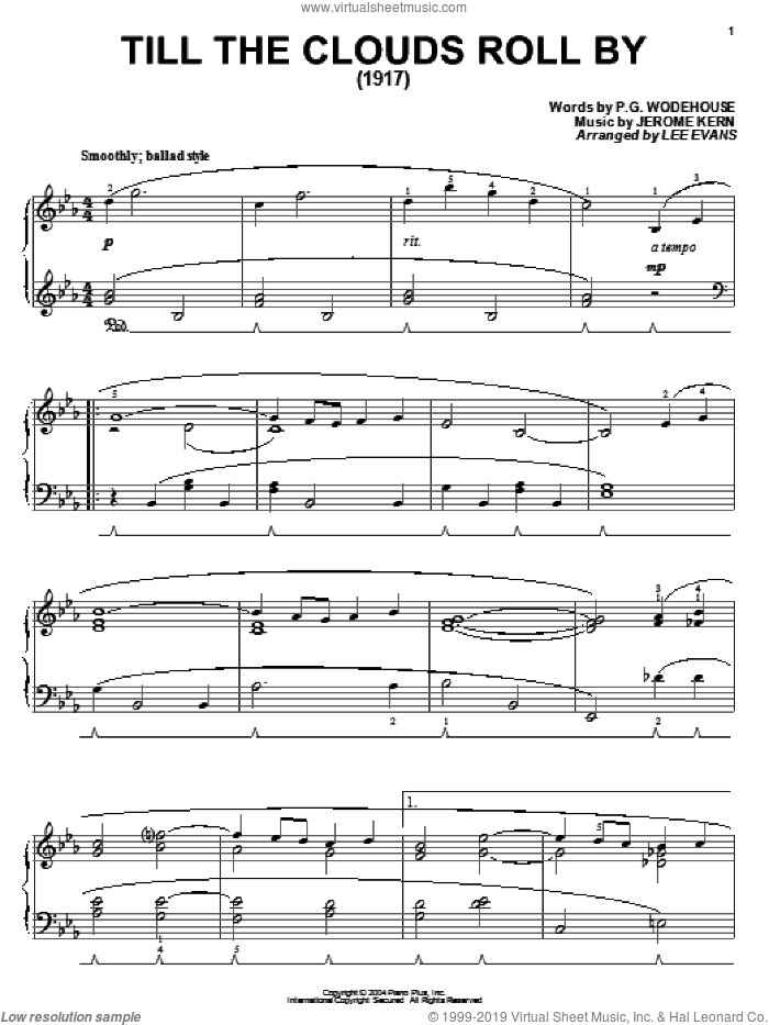 Till The Clouds Roll By sheet music for piano solo by Jerome Kern and P.G. Wodehouse. Score Image Preview.