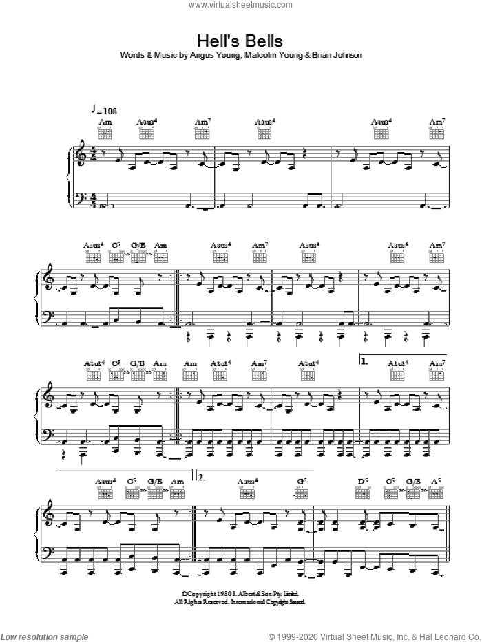 hells bells piano sheet music pdf
