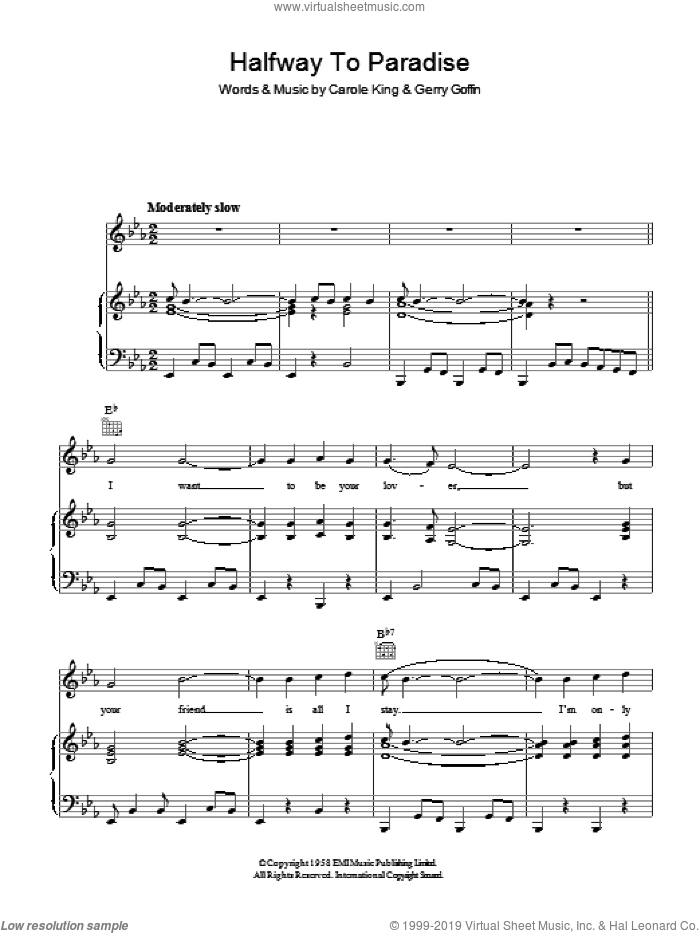 Halfway To Paradise sheet music for voice, piano or guitar by Carole King and Gerry Goffin. Score Image Preview.