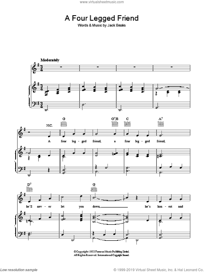 A Four Legged Friend sheet music for voice, piano or guitar by Jack Brooks. Score Image Preview.