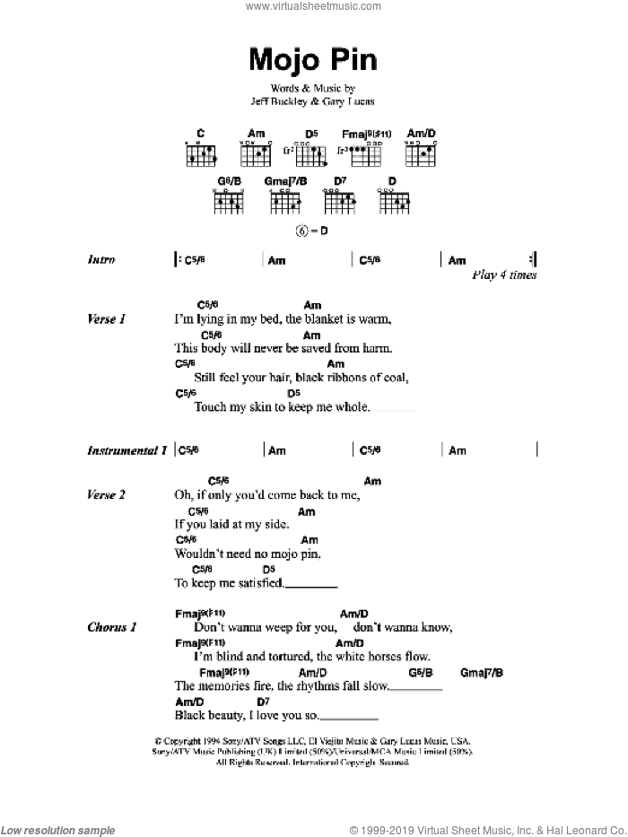 Mojo Pin sheet music for guitar (chords) by Jeff Buckley and Gary Lucas, intermediate skill level