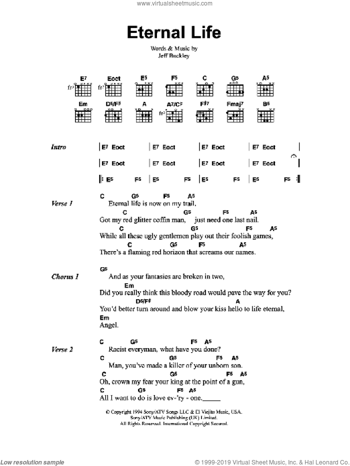 Eternal Life sheet music for guitar (chords) by Jeff Buckley. Score Image Preview.