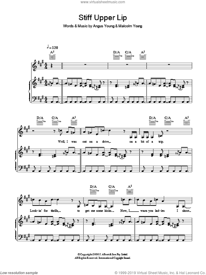 Stiff Upper Lip sheet music for voice, piano or guitar by Malcolm Young, AC/DC and Angus Young. Score Image Preview.