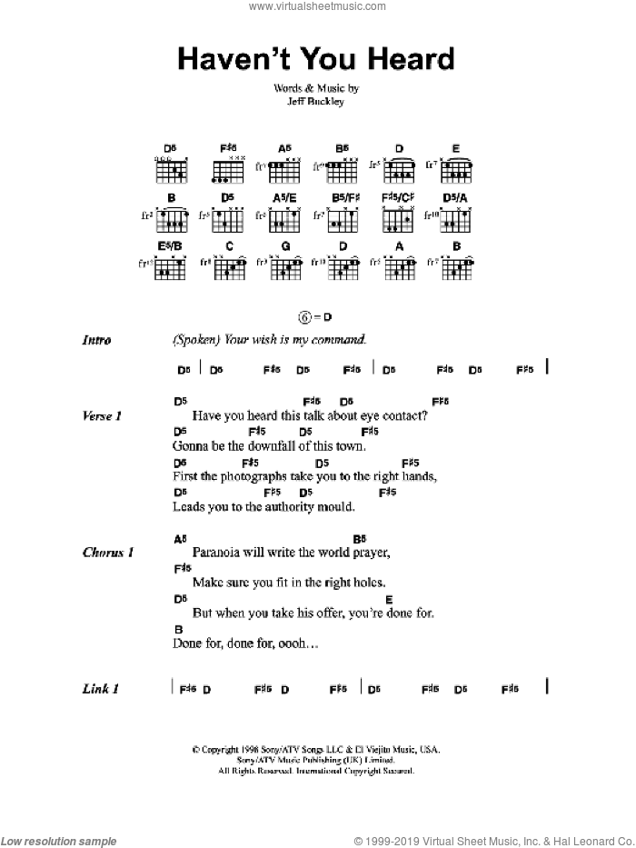 Haven't You Heard sheet music for guitar (chords) by Jeff Buckley. Score Image Preview.