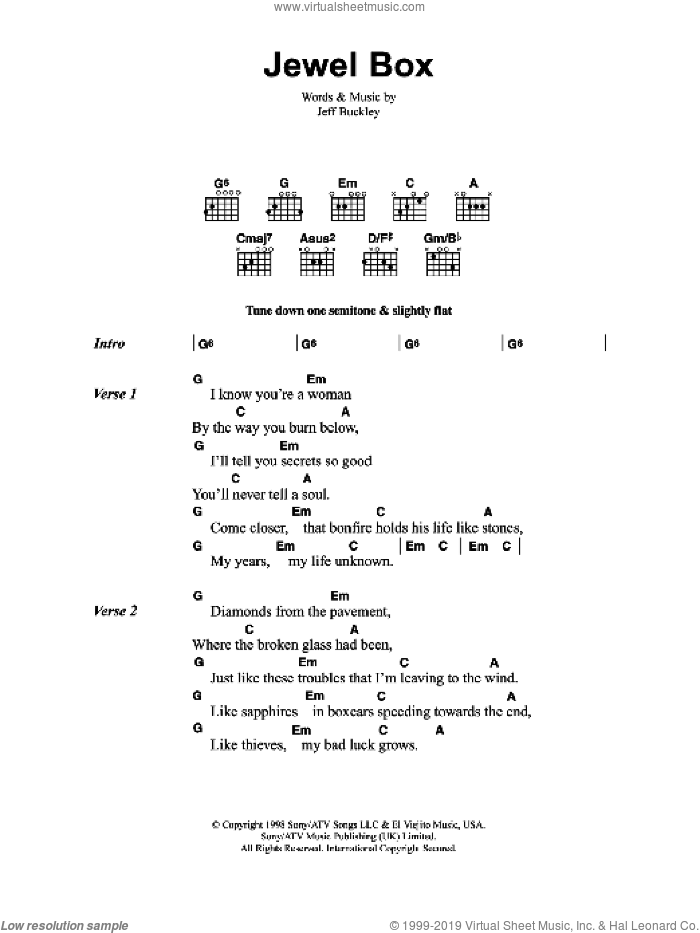 Jewel Box sheet music for guitar (chords) by Jeff Buckley, intermediate. Score Image Preview.