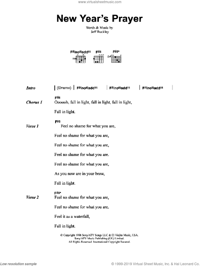 New Year's Prayer sheet music for guitar (chords) by Jeff Buckley, intermediate skill level