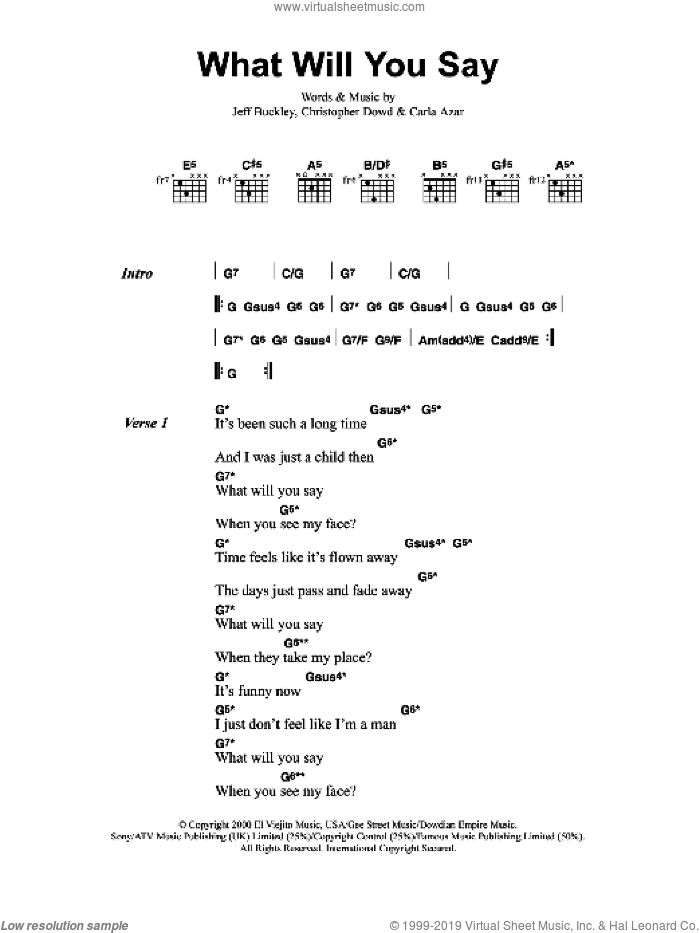 What Will You Say sheet music for guitar (chords, lyrics, melody) by Carla Azar