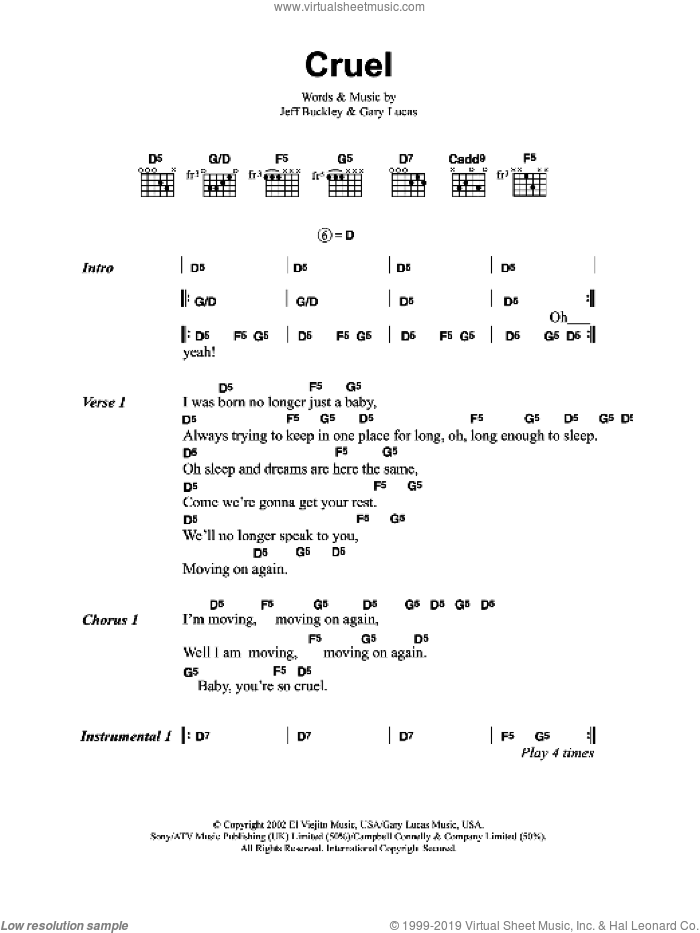 Cruel sheet music for guitar (chords) by Jeff Buckley and Gary Lucas, intermediate skill level