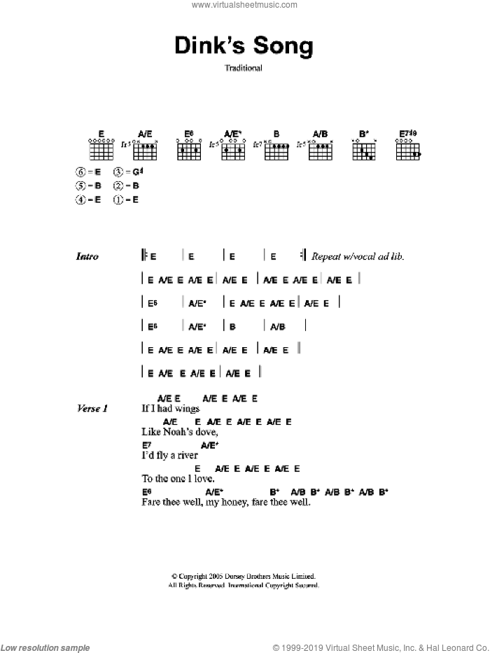 Dink's Song sheet music for guitar (chords, lyrics, melody)