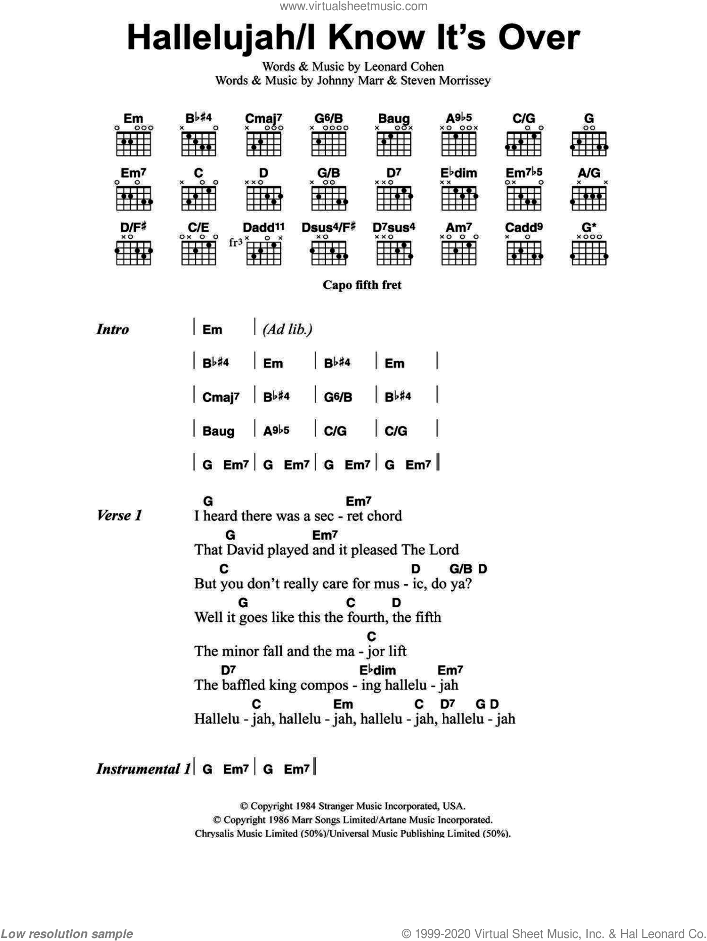 Hallelujah / I Know It's Over sheet music for guitar (chords) by Jeff Buckley, Johnny Marr, Leonard Cohen and Steven Morrissey, intermediate