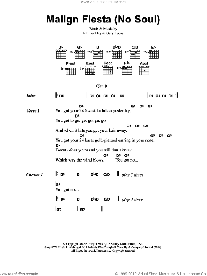 Malign Fiesta (No Soul) sheet music for guitar (chords) by Gary Lucas and Jeff Buckley. Score Image Preview.