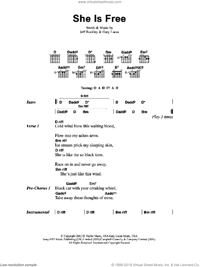 She Is Free sheet music for guitar (chords) by Gary Lucas and Jeff Buckley. Score Image Preview.