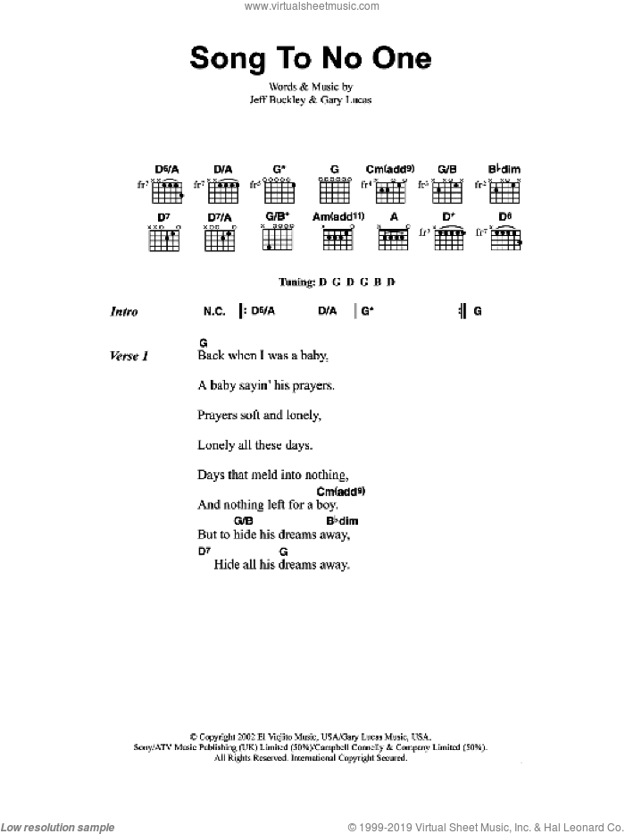 Song To No One sheet music for guitar (chords) by Jeff Buckley and Gary Lucas, intermediate skill level