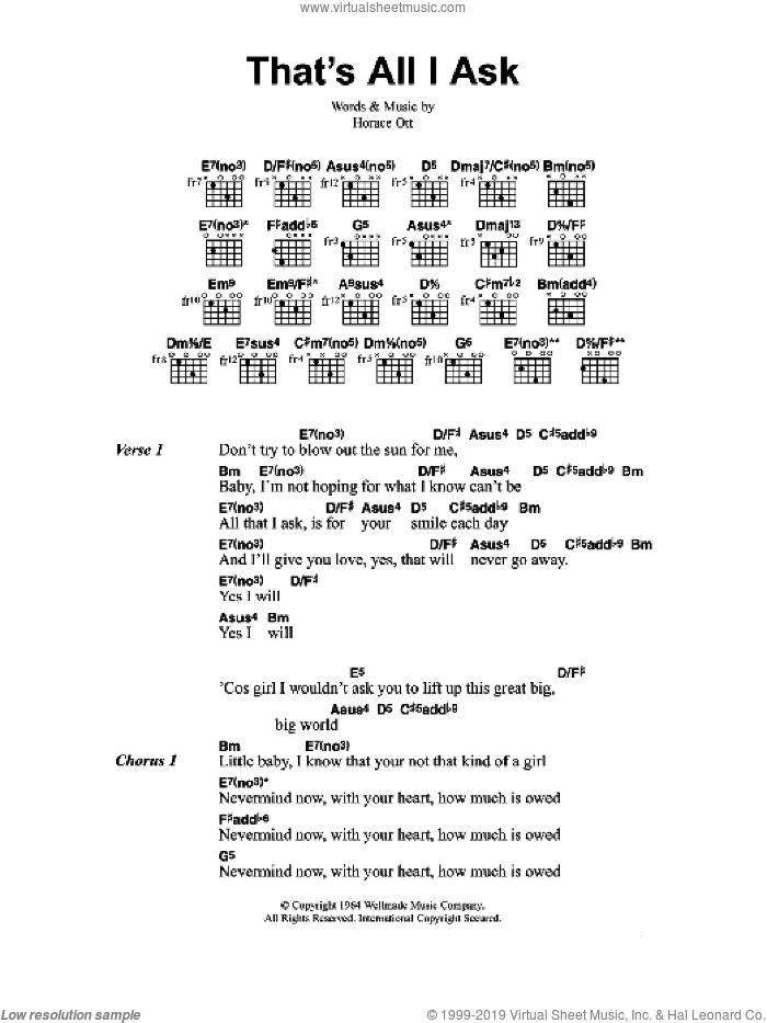 That's All I Ask sheet music for guitar (chords) by Jeff Buckley and Horace Ott, intermediate skill level