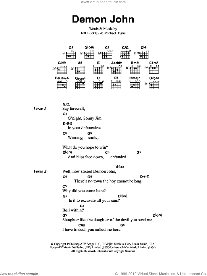 Demon John sheet music for guitar (chords) by Michael Tighe and Jeff Buckley. Score Image Preview.