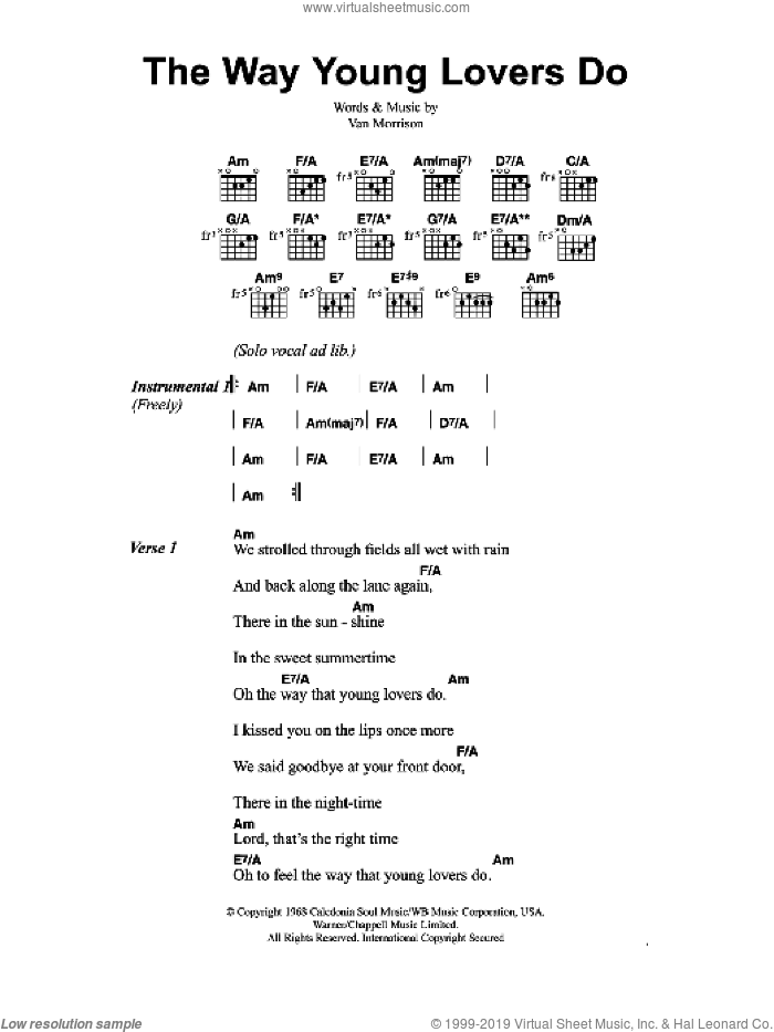 The Way Young Lovers Do sheet music for guitar (chords) by Jeff Buckley and Van Morrison, intermediate