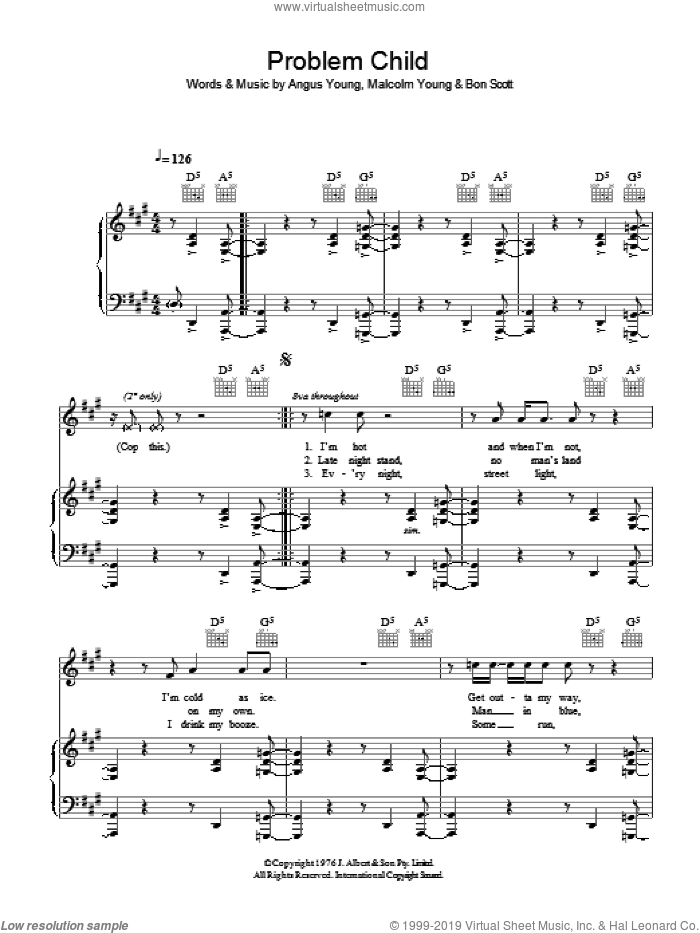 Problem Child sheet music for voice, piano or guitar by AC/DC. Score Image Preview.
