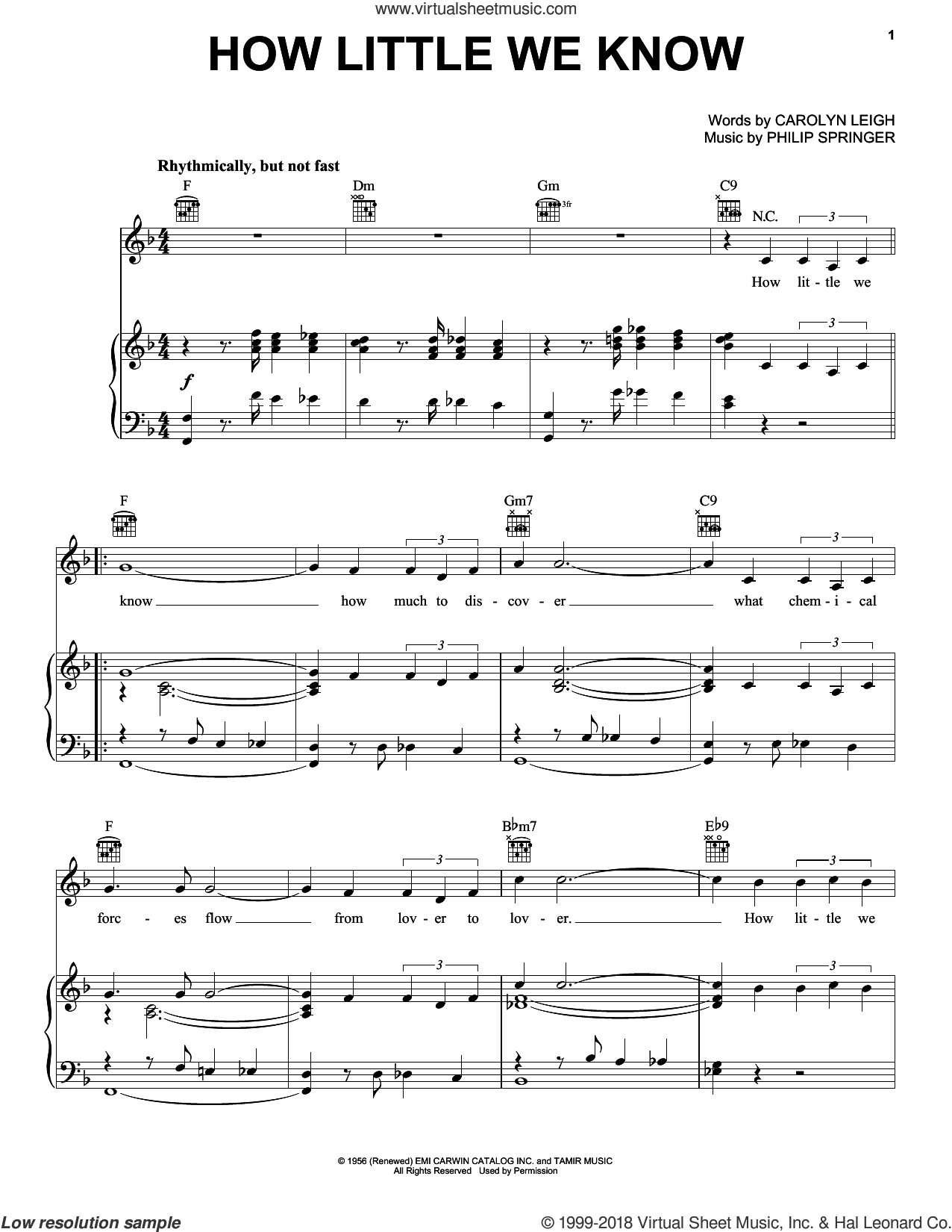 How Little We Know sheet music for voice, piano or guitar by Carolyn Leigh and Philip Springer, intermediate. Score Image Preview.