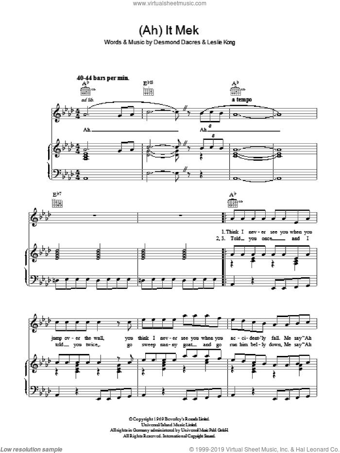 (Ah) It Mek sheet music for voice, piano or guitar by Desmond Dekker, Desmond Dacres and Leslie Kong, intermediate skill level