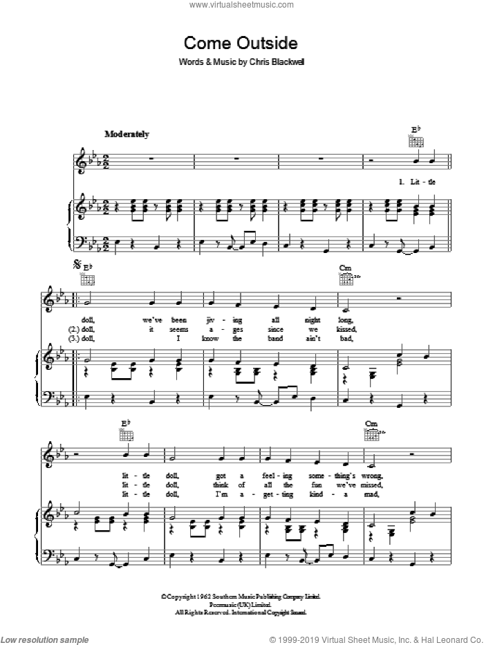 Come Outside sheet music for voice, piano or guitar by Mike Sarne and Christopher Blackwell, intermediate. Score Image Preview.