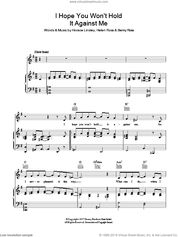 I Hope You Won't Hold It Against Me sheet music for voice, piano or guitar by Helen Ross. Score Image Preview.