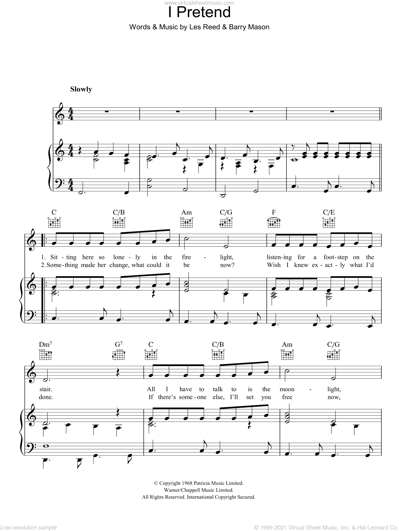 I Pretend sheet music for voice, piano or guitar by Barry Mason