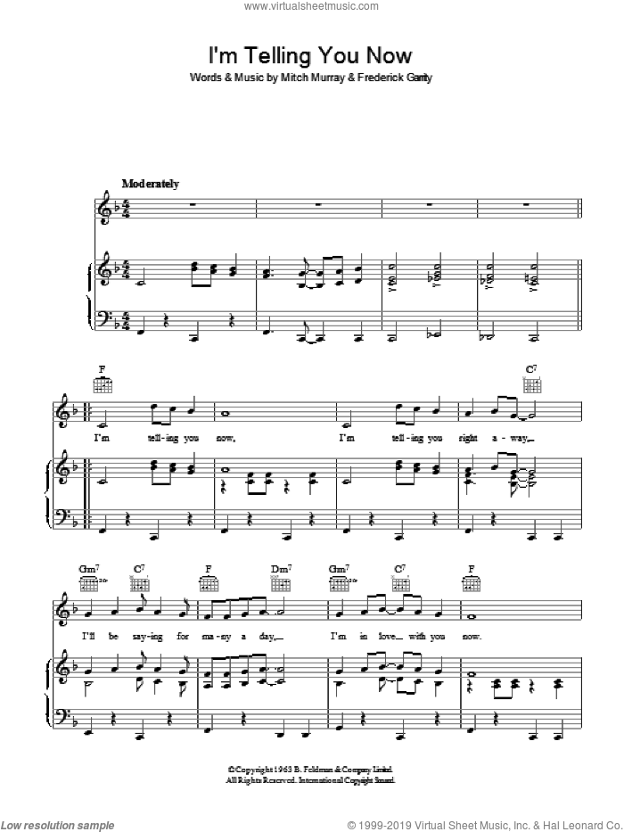 I'm Telling You Now     (Garrity/Murray) sheet music for voice, piano or guitar by Freddie And The Dreamers, Frederick Garrity and Mitch Murray, intermediate. Score Image Preview.