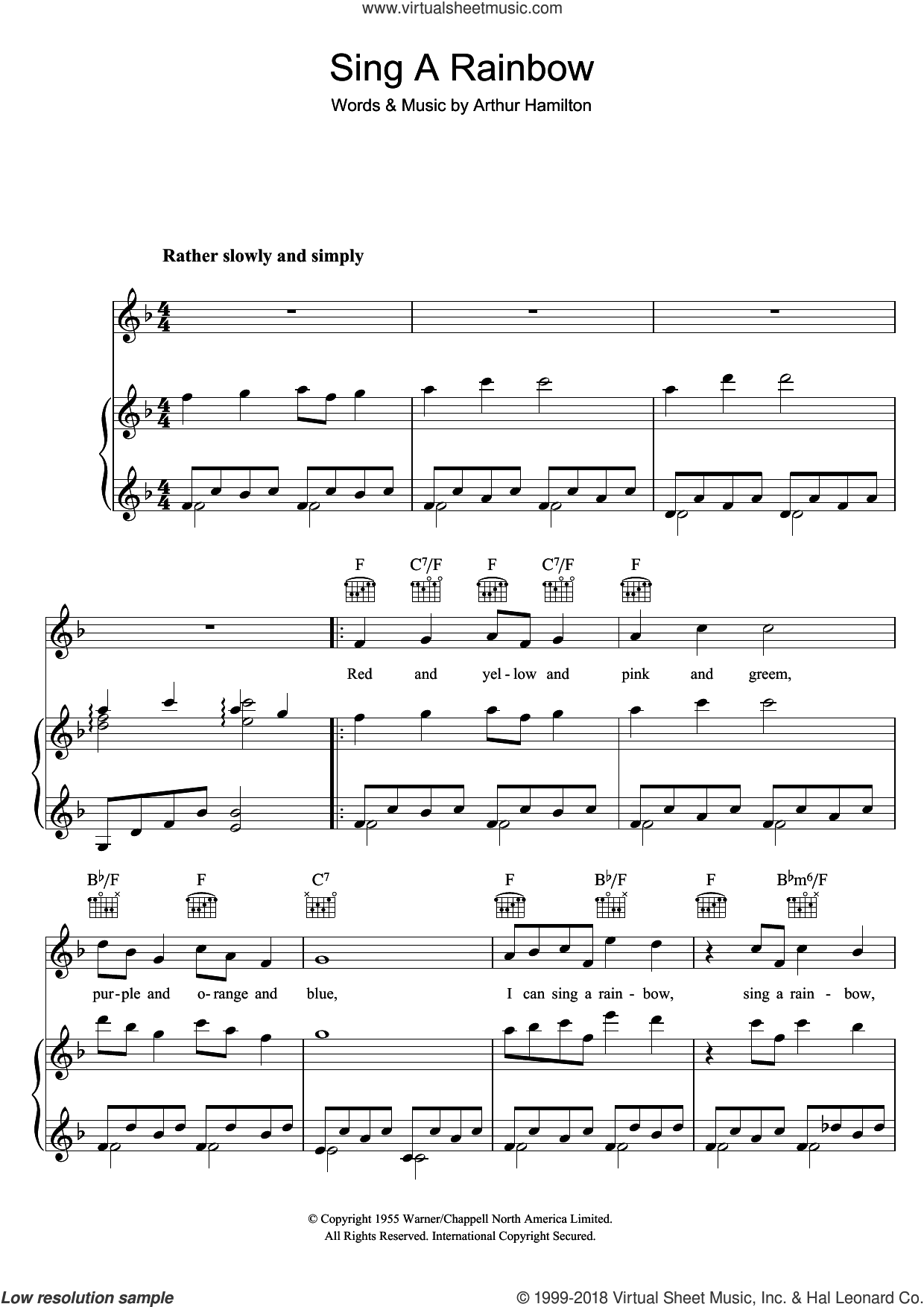 Sing A Rainbow sheet music for voice, piano or guitar by Arthur Hamilton, intermediate skill level