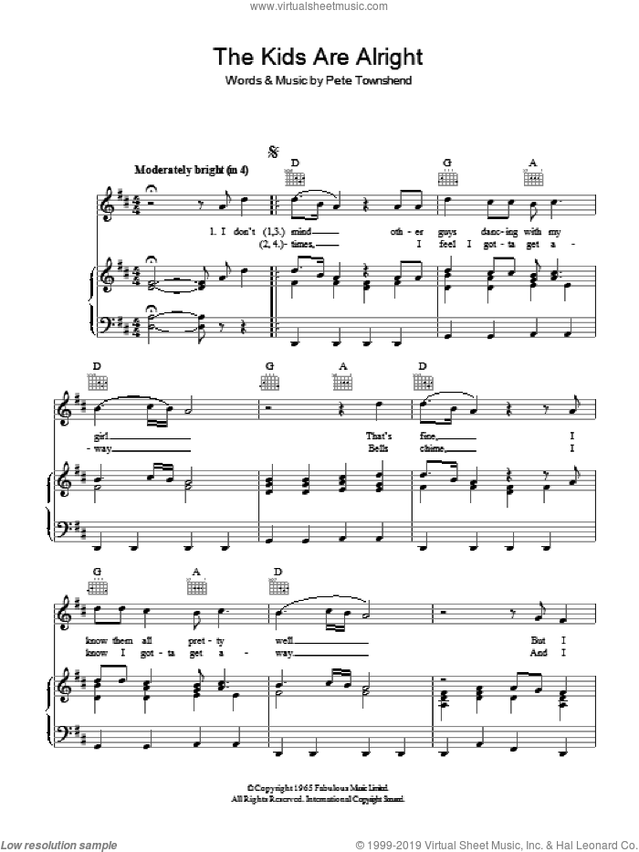 The Kids Are Alright sheet music for voice, piano or guitar by The Who and Pete Townshend, intermediate skill level