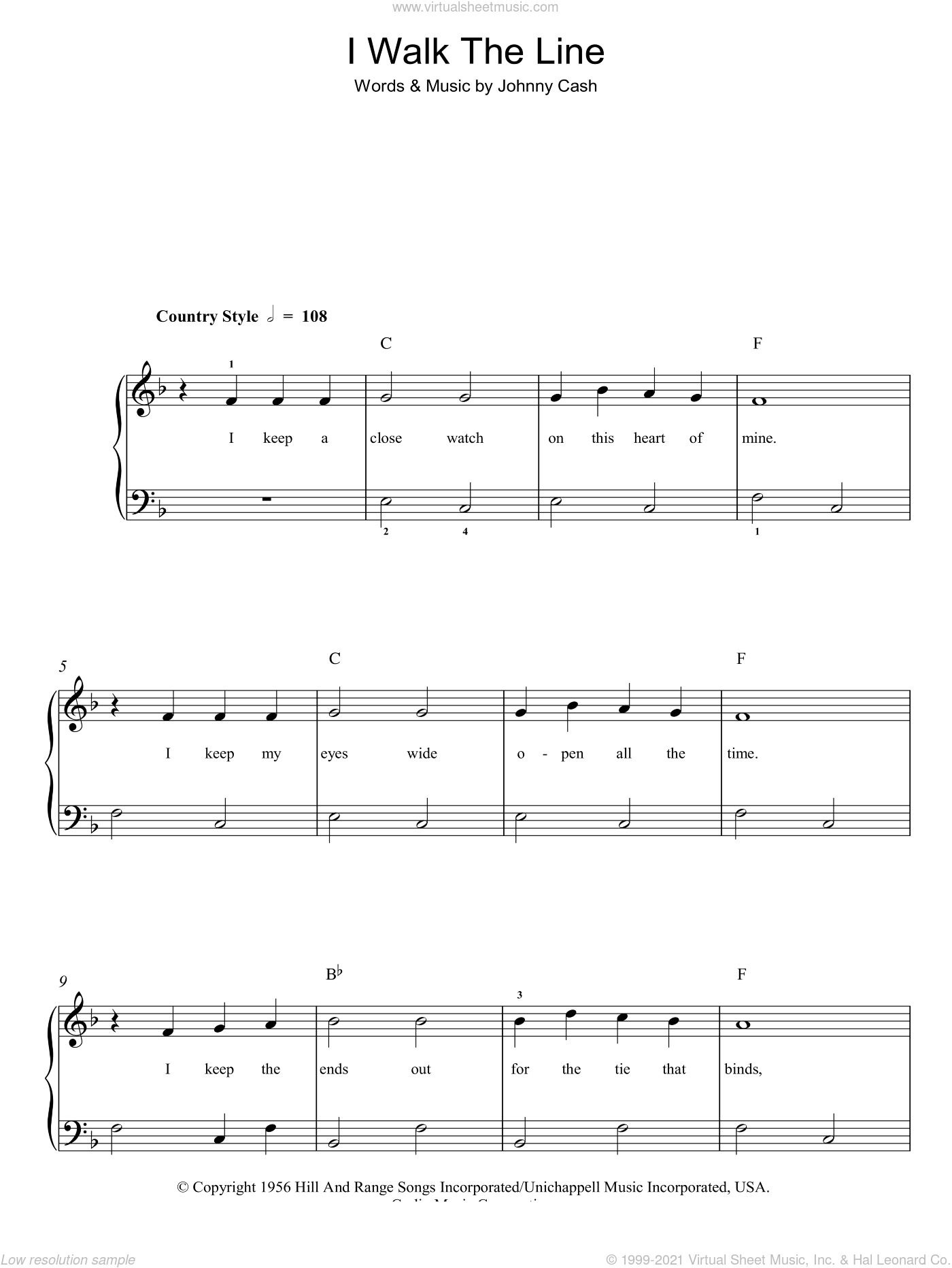 I Walk The Line sheet music for piano solo by Johnny Cash, easy skill level