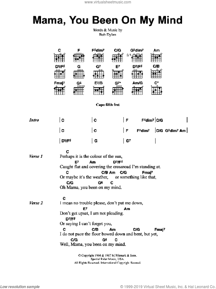 Buckley - Mama, You Been On My Mind sheet music for guitar (chords)