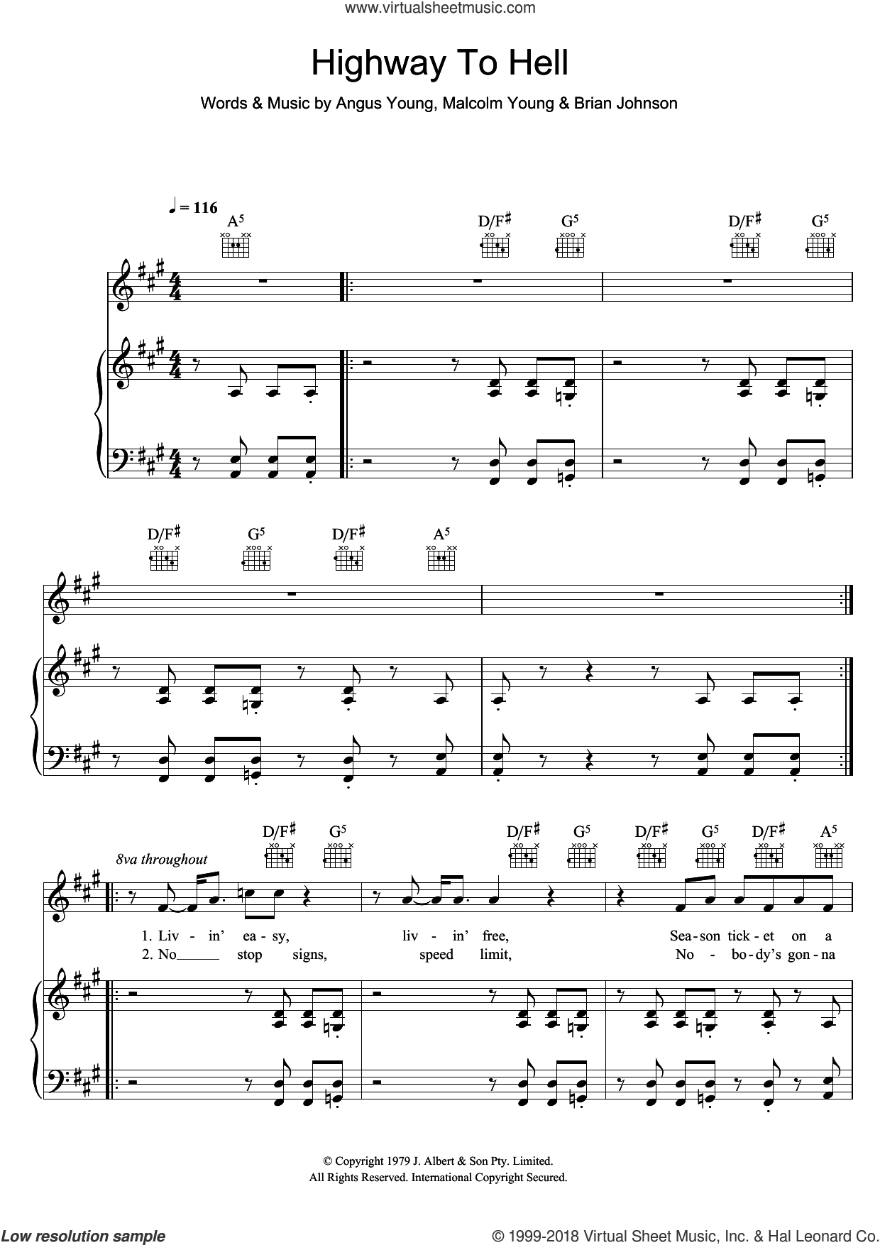 Highway To Hell sheet music for voice, piano or guitar by AC/DC, Angus Young, Brian Johnson and Malcolm Young, intermediate skill level