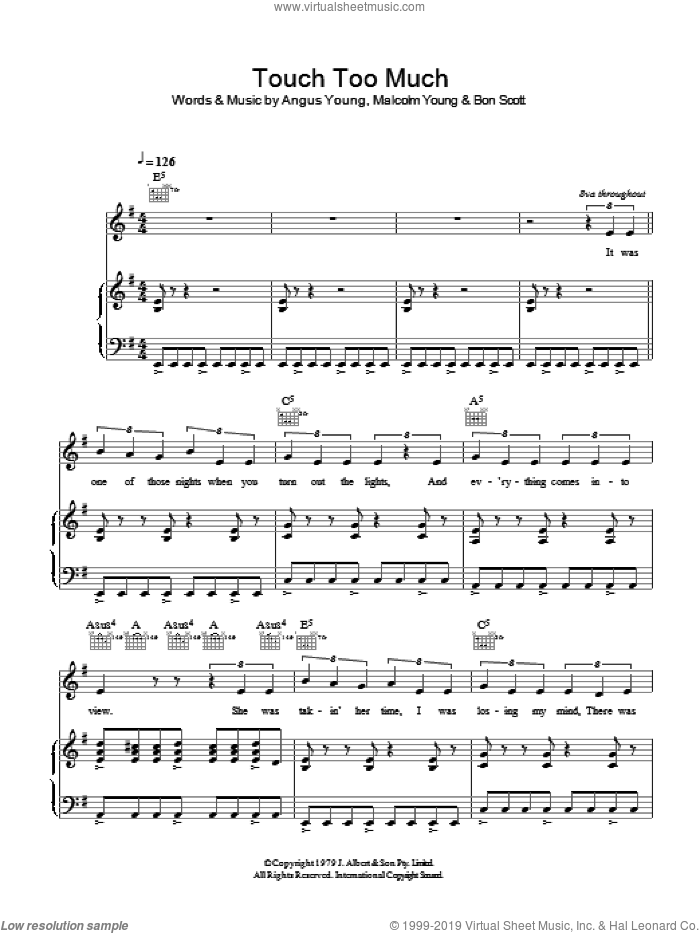 Touch Too Much sheet music for voice, piano or guitar by Angus Young, AC/DC and Malcolm Young. Score Image Preview.