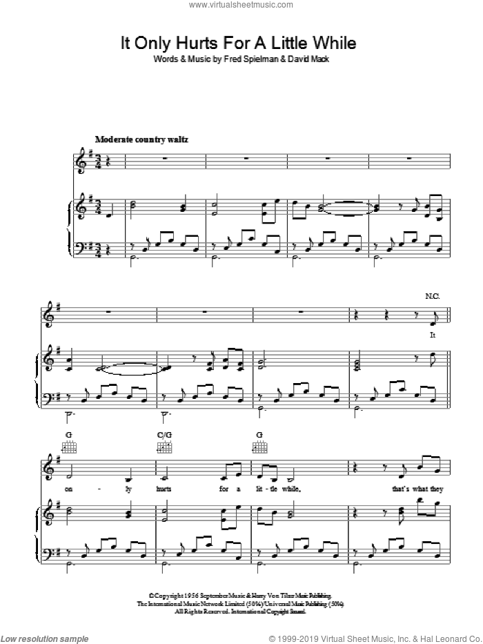 It Only Hurts For A Little While sheet music for voice, piano or guitar by Fred Spielman