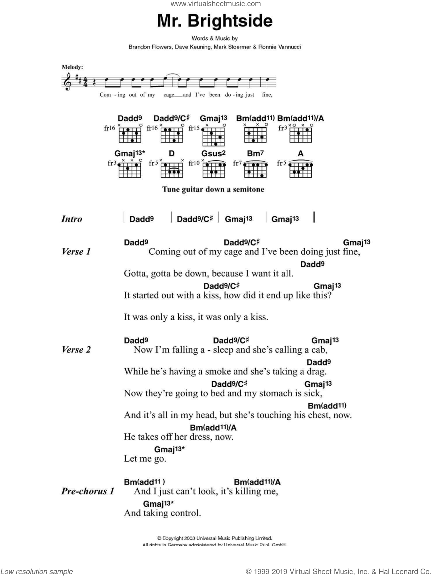 Mr. Brightside sheet music for guitar (chords) by The Killers, Brandon Flowers, Dave Keuning, Mark Stoermer and Ronnie Vannucci, intermediate skill level