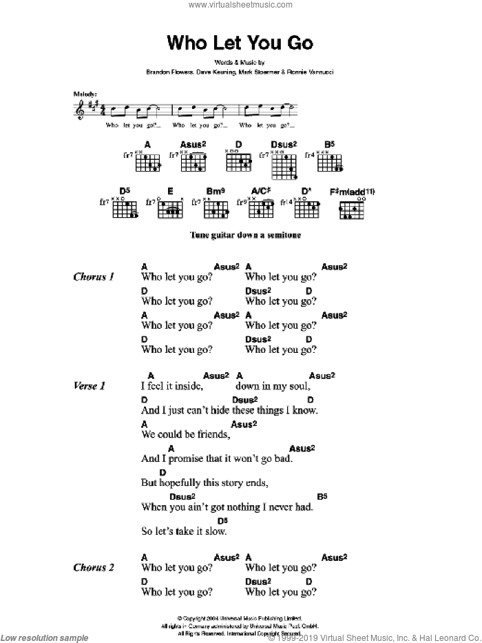 Who Let You Go sheet music for guitar (chords) by The Killers, Brandon Flowers, Dave Keuning, Mark Stoermer and Ronnie Vannucci, intermediate skill level
