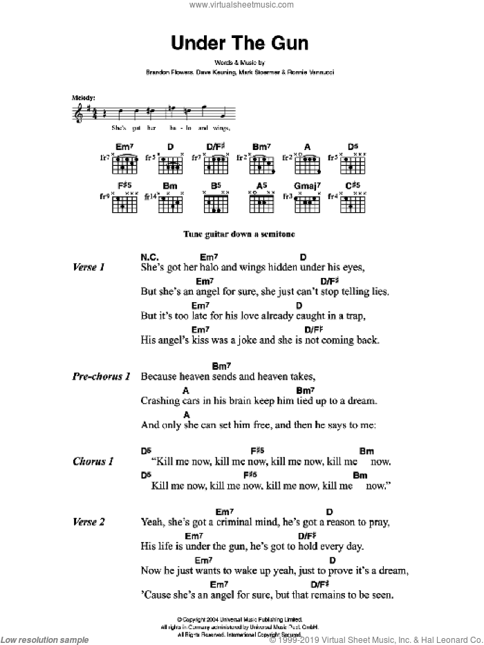 Under The Gun sheet music for guitar (chords) by Brandon Flowers, The Killers, Dave Keuning, Mark Stoermer and Ronnie Vannucci. Score Image Preview.